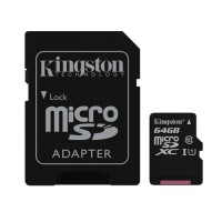 Флешка microSDHC 64Gb Kingston <SDCS / 64GB> Class10 + адаптер