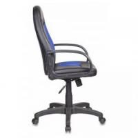 Кресло Бюрократ CH-826 / B+BL (сиденье черное, вставки синие, иск.кожа)