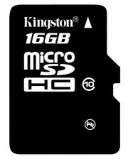 Флешка microSDHC 16Gb Kingston Class10 с адаптером