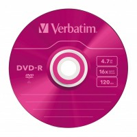 Диск DVD-R Verbatim 4.7Gb 16x Slim Color (1шт)