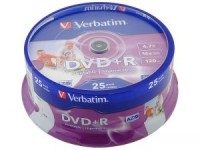 Диск DVD+R Verbatim 4.7Gb 16x Cake Box Printable (25шт)