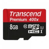Флешка microSDHC 8Gb Transcend <TS8GUSDCU1> Premium Class10