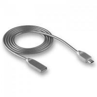 Кабель microUSB -> USB 1.0м WALKER C730 в металической обмотке, серебряный