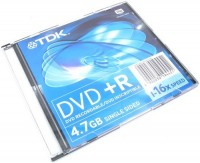 Диск DVD+R TDK 4.7Gb 16x Only disc (1шт)