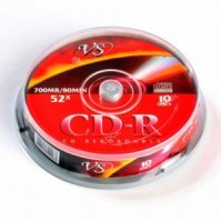 Диск CD-RW VS 700Mb 12x Cake Box (10шт)
