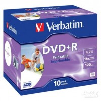 Диск DVD+R Verbatim 4.7Gb 16x Jewel case Printable (10шт)