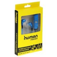 Мобильные наушники Human Friends, Spark Blue со светящимся Led проводом