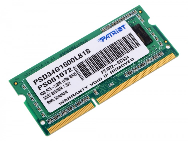 Память DDR3 SO-DIMM 4Gb <PC3-12800> Patriot <PSD34G1600L81S> CL11