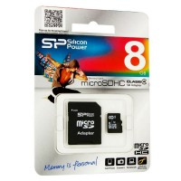 Флешка microSDHC 8Gb Silicon Power  Сlass4 + адаптер