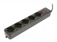 Сетевой фильтр 1.8м CBR CSF 2600 Black (5 розеток)