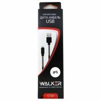 Кабель microUSB -> USB 1.0м WALKER C720 с пружинами, черный