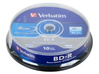 Диск BD-R Verbatim 25Gb 6x Cake Box Printable (10шт) (43804)