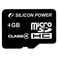 Флешка microSDHC 4Gb Silicon Power Class 4 с адаптером