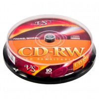 Диск CD-RW VS 700Mb 12x Cake Box (10шт) VSCDRWCB1001