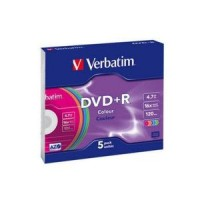 Диск DVD-R Verbatim 4.7Gb 16x Colour Slim Case (1шт)