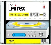 Диск DVD-R Mirex 4.7 Gb, 16x, Slim Case (1шт)