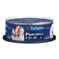 Диск CD-R Verbatim 700Mb 52x Cake Box Printable (25шт) <43439>