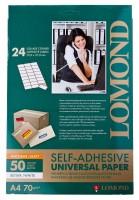 Фотобумага A4, самоклеящаяся, 70 г / м2, 50 листов, LOMOND (2100005)