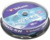 Диск DVD-RW Verbatim 4.7Gb 4x Cake Box (10шт) <43552>