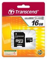 Флешка microSDHC 16Gb Transcend с адаптером