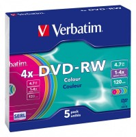 Диск DVD-RW Verbatim 4.7Gb 4x Slim Case (5шт)