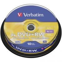 Диск DVD+RW Verbatim 4.7Gb 16x Cake Box (10шт)