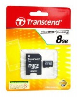 Флешка microSDHC 8Gb Transcend Class4 с адаптером