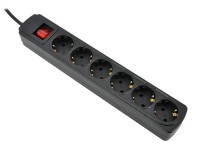 Сетевой фильтр 1.8м Ippon BK212 Black (6 розеток)