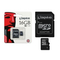 Флешка microSDHC 16Gb Kingston <SDC10G2 / 16GB> Class10 с адаптером