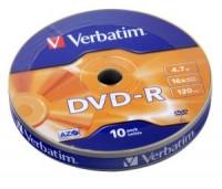 Диск DVD-R Verbatim 4.7Gb 16x bulk (10шт) 43729